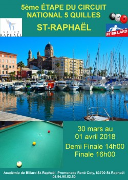 5-QUILLES : Tournoi national 5 à Saint-Raphaël
