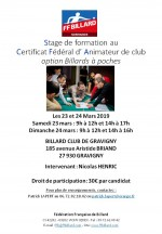 FORMATION AU CERTIFICAT FEDERAL D'ANIMATEUR DE CLUB OPTION BILLARDS A POCHES EN NORMANDIE