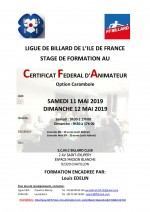 FORMATION AU CERTIFICAT FEDERAL D'ANIMATEUR DE CLUB OPTION CARAMBOLE EN ILE DE FRANCE